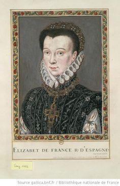 Elisabeth de Valois PROVENANCE Gaignieres collection BNF [Portrait de princesse en buste de 3/4 à gauche. Elle porte une croix ornée de pierreries et de perles] : [dessin]