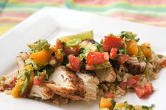 Grilled Chicken with Mango Salsa and Paella Rice