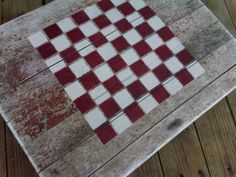 Cabin Decor, Lake house decor, Primitive Rustic - Checkers Game Board Tray- Reclaimed driftwood repurposed tray via Etsy