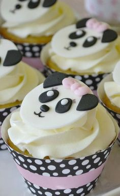 Panda Birthday Party cupcakes! See more party ideas at CatchMyParty.com!