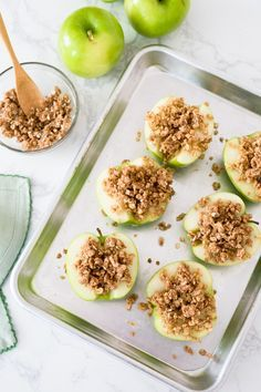 Baked apples topped