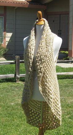 CREAM ROSE VEST Crochet Fashion Chic Femenine by marianavail, $55.00