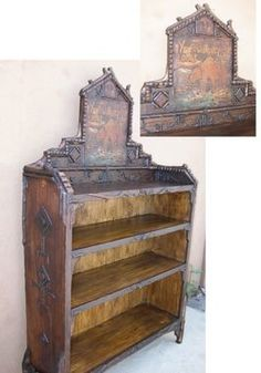 Adirondack style bookcase w/ hand carved tramp art & twig details and featuring a vintage c. 1930s Yellowstone lodge hand tooled leather panel on back splash.