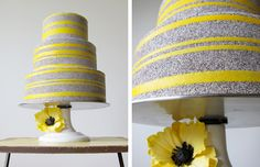 yellow & gray wedding cake!