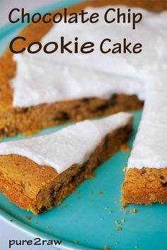GF chocolate chip cookie cake with coconut icing