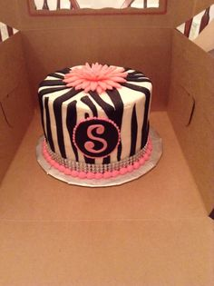 Zebra sparkle birthday cake
