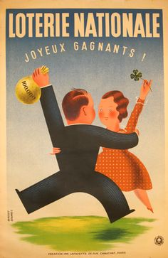 Loterie Nationale Dance, 1937 - original vintage poster by Derouet Edgard listed on AntikBar.co.uk