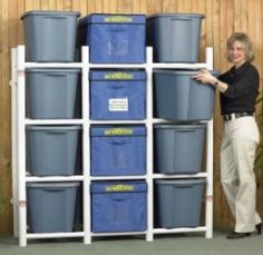 These storage bin organizers are awesome for increasing storage space, since you can stack the tubs higher without having to move everything when you want to get to something at the bottom of the stack. Use PVC pipes.
