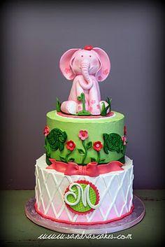 Sandra's Cakes: Lilly Pulitzer Inspired Birthday Cake. Elephant with monogram