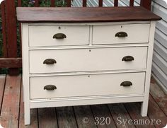 dresser redo...instructions and paint colour listed...rustoleum spray paint??? Painting Old Furniture, Old Dressers, Dresser Redo, Paint Colours, Painted Dressers