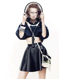 Tennis fashion-inspired photoshoot.
