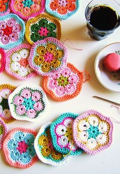 silly old suitcase: How to make a crochet African Granny hexagon pillow...