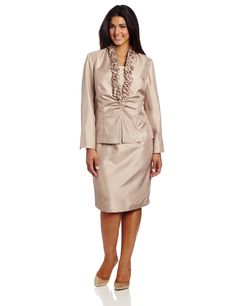 Women's Plus-Size Ruffle Collar Jacket With #Dress. This would be a great cocktail dress for a dinner party or a mother of the #bride #outfit