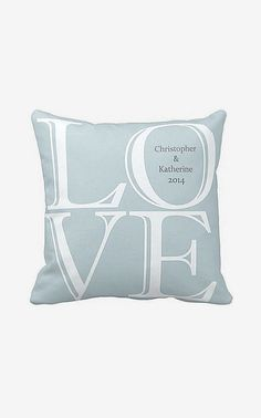 Personalized Blue LOVE Wedding Pillow Anniversary
