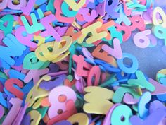 Easy activities with foam letters and numbers that go a long way! Sensory and early literacy.