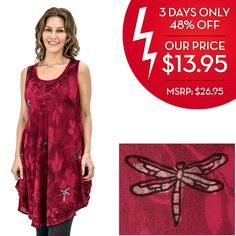 Scarlet Dragonfly Sleeveless Tunic at The Rainforest Site