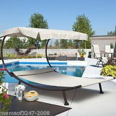 Large Modern Outdoor Patio Yard Pool Furniture Double Chaise Lounge Canopy Bed