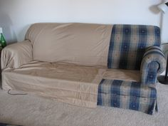 Making Couch Covers from Two Queen Bed Sheets...and Upholstery Pins