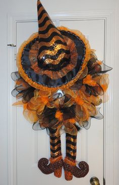 Orange and Black Ruffled Witch Halloween Wreath. Ramona Reindeer