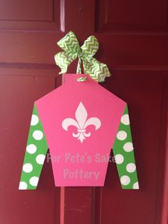 Jockey silk cutout door hanger by forpetessakepottery on Etsy, $40.00