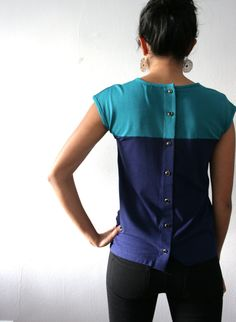 Organic Womens Blouse, Modal Bamboo Jersey, Colorblock Teal Navy, Button Up Back, Classic Tshirt - CHLOE
