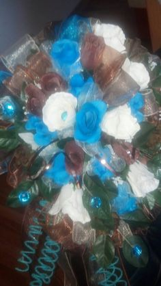 Chocolate/Turquoise Bridal BLiNG Wedding bouquet....$98.95...The Sugar Shack General Store....Edgar, Nebraska