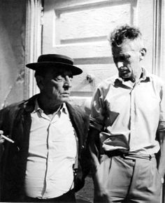 """SAMUEL BECKETT FB    Two greats: Samuel Beckett and """"the great stoneface"""" Buster Keaton at the filming of Film (NYC, 1964)."""