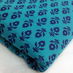Sea Green and Blue Floral Print Cotton Fabric - Indian Cotton Fabric