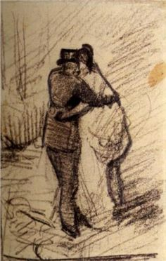 A Man and a Woman Seen from the Back - Vincent van Gogh 1886