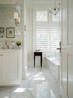 louvred shutter in bathroom window