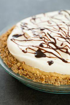 Chocolate-Peanut Butter Banana Cream Pie with Pretzel Crust   browneyedbaker.com #recipe