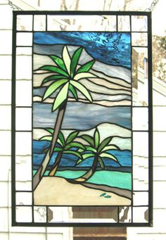 "Beach and Palm Tree Panel--12"" x 18""--Stained Glass Window Panel--"