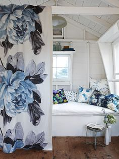 decor, cottag, pillow, house interiors, blue bedroom curtains, white, nook, blues, floral