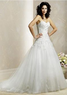 Attractive A-Line/Princess Sweetheart Chapel Train Satin Tulle Wedding Dress with Lace Beadwork