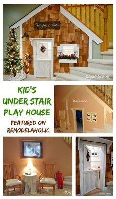 Under stair kids playhouse Step by step featured on Remodelaholic.com #playhouse #kids #DIY