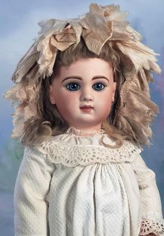 """French Bisque Bebe Jumeau,Size 12,with Fine Antique Costume 27"""" (69 cm.)"""