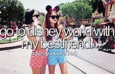 go to disney world with my best friend.