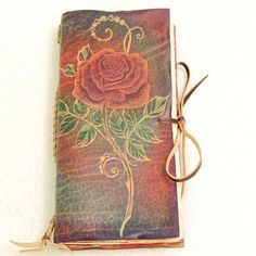 Long Rose leather journal by gildbookbinders