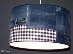 Stoere lamp spijkerstof en ruit