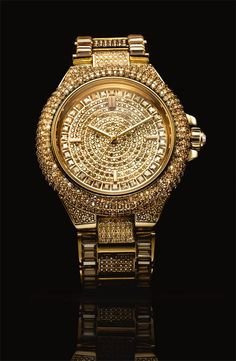 Gold and Crystal Encrusted Bracelet Watch