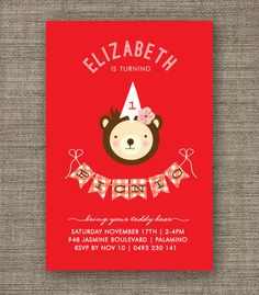 Teddy Bears Picnic Invitation for girl, 1st 2nd 3rd 4th 5th birthday - kids party invites - pdf printable - red gingham on Etsy, $15.27