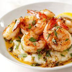 Shrimp- Lemon Garlic Shrimp and Grits from Food Network .. andouille sausage