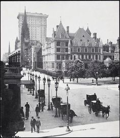5th Avenue and 59th Street with C. Vanderbilt mansion in background. 1900