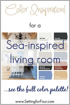 Coastal Style Living Room Color Palette - see the colors that make this room so cozy and relaxed!