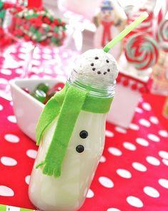 starbucks bottle all dressed up #christmas #decor #bottle #snowman #DIY