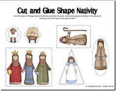 Cut and glue nativity scene...how cute are those pictures?!