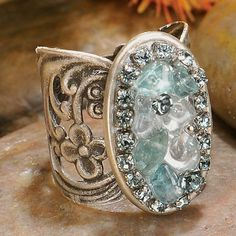 Shopping at Femail Creations - Oval Aqua Cluster Ring