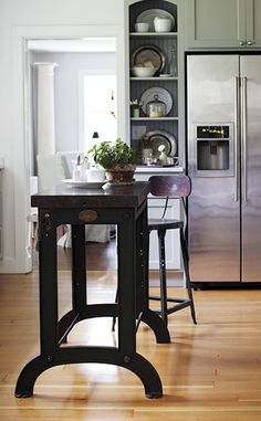 gray cabinets, industrial