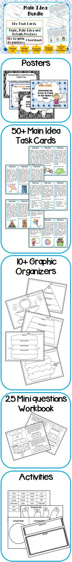 Main Idea Bundle with task cards, activities, graphic organizers and workbook. Visit my blog and facebook page for freebies, tips and new product updates: rollerenglish.blogspot.com https://www.facebook.com/rollerenglish