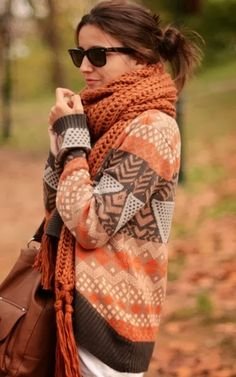 Reds browns and golds for the autumn weather. Fall Clothing, Fall Style, Autumn, Sweaters Weather, Fall Outfits, Fall Sweaters, Scarves, Fall Fashion, Cozy Sweaters